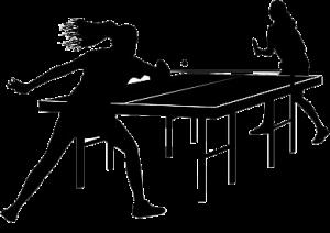 Deux joueuses de tennis de table en plein tournoi.
