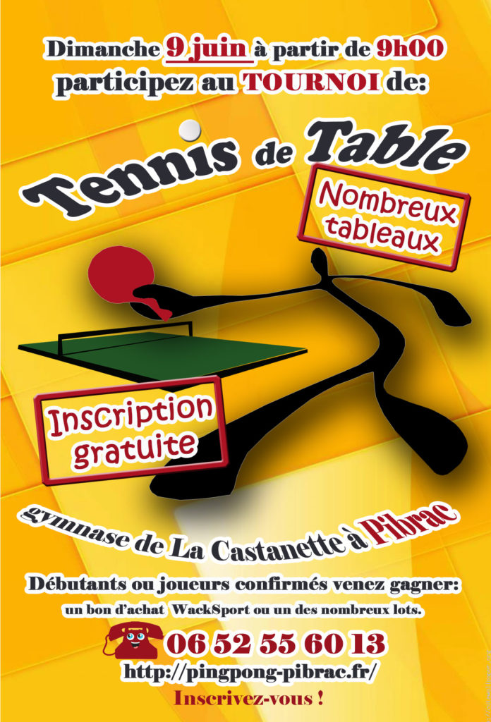 Flyer du tournoi de tennis de table 2019